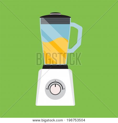 Flat icon electric blender isolated on green background. Vector illustration.