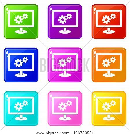 Monitor settings icons of 9 color set isolated vector illustration