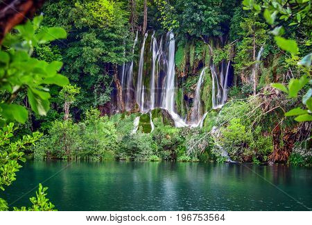 beautiful view of the Plitvice waterfalls  in Croatia