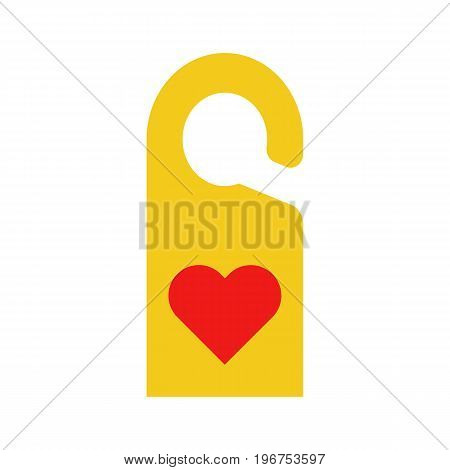 Flat icon hotel door label with red heart. Vector illustration.