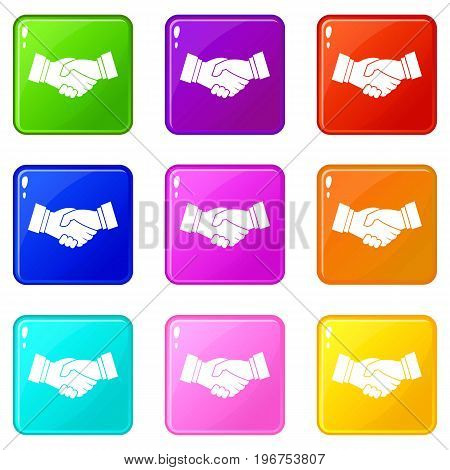Handshake icons of 9 color set isolated vector illustration