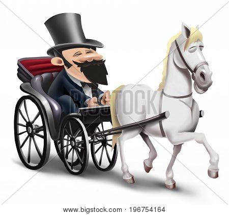 coachman driving old carriage with white horse