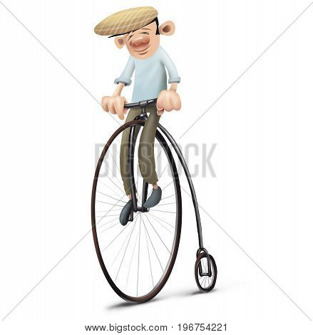man with had driving an old bike velocipede