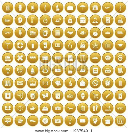 100 bag icons set in gold circle isolated on white vector illustration