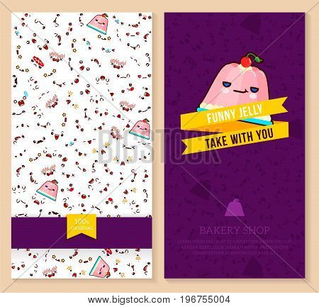 Kawaii two sided brochure flyer for bakery shop. funny tickets design with emotion pattern and sweet jelly. Vector illustration.