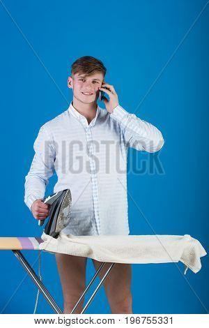 Macho Wearing Striped Shirt