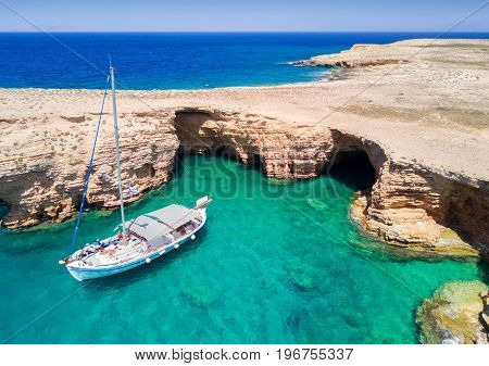 Aerial view of the Ksylobatis caves on Pano Koufonisi, Cyclades, Greece