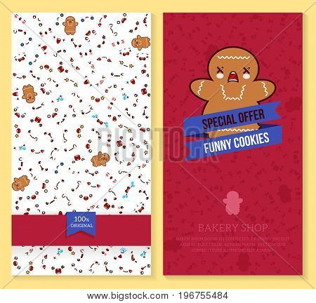 Kawaii two sided brochure flyer for bakery shop. funny tickets design with emotion pattern and sweet cookie. Vector illustration.