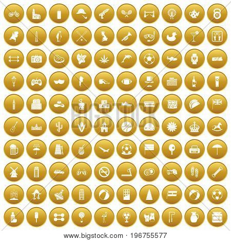 100 ball icons set in gold circle isolated on white vector illustration
