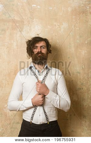 Man With Long Beard And Mustache On Face.