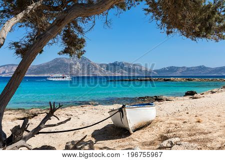 View to the turquoise sea of Koufonisia at Fanos beach, Cyclades, Greece