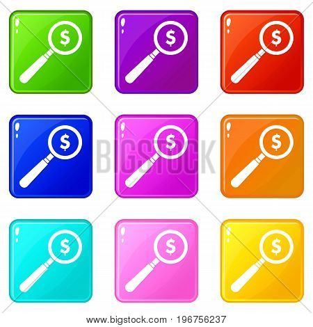 Magnifier icons of 9 color set isolated vector illustration