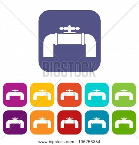 Industrial pipe valve icons set vector illustration in flat style in colors red, blue, green, and other