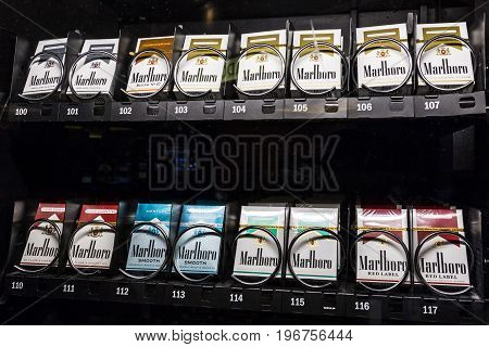 Las Vegas - Circa July 2017: Packs of Marlboro Cigarettes in a vending machine. Marlboro is a product of the Altria Group