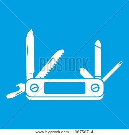 Pocket flashlight icon white isolated on blue background vector illustration