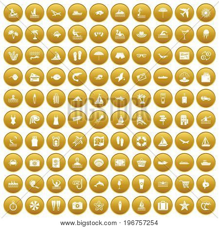 100 beach icons set in gold circle isolated on white vector illustration