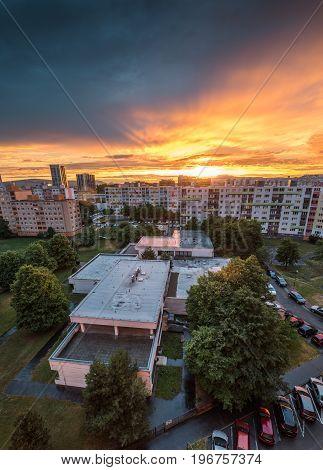 Beautiful Colorful Sunset over Housing Estate. Petrzalka Bratislava Slovakia.
