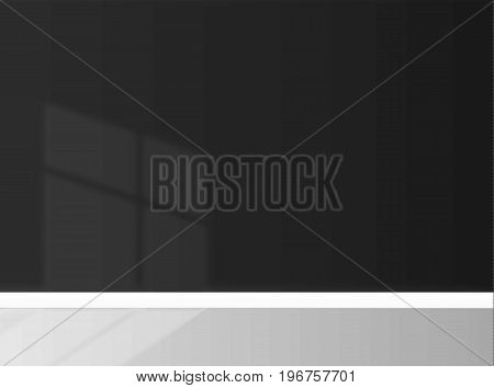 black wall an empty background With the shadow of window vector art illustration
