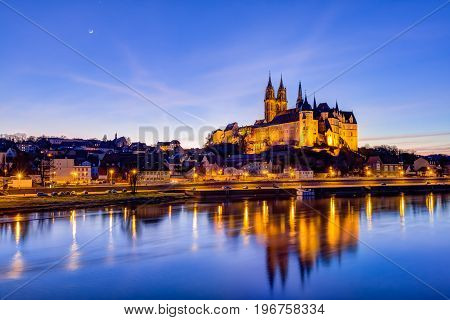 Albrechtsburg and Meissen Cathedral on the Elbe river