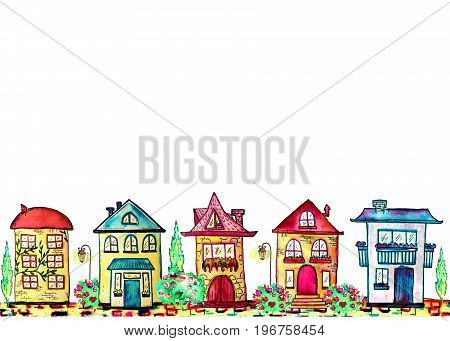 Hand drawn watercolor street border with different houses, tree, and lamp on a white background. Raster illustration