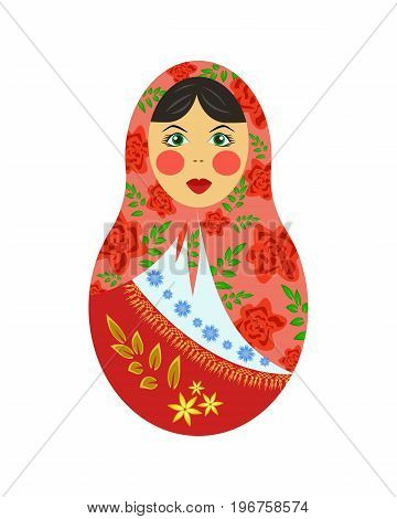 Russian nesting doll, tumbler, wooden colorful nesting pin, symbol of a Russian woman, Russian souvenir, vector illustration