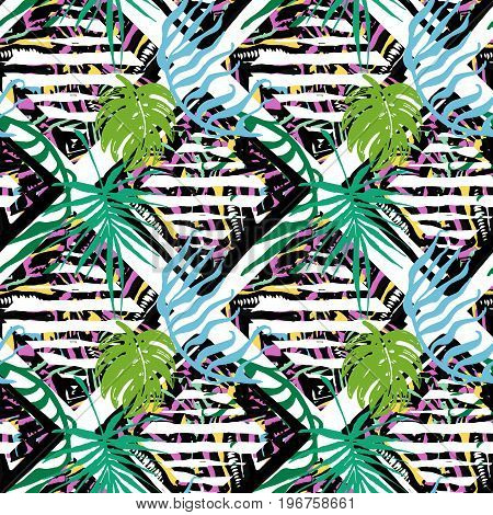 Exotic Leaves Summer Funky Seamless Pattern.