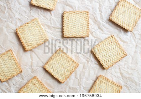sweet square cookies over backing paper background