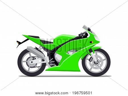 Green sports motorbike. Isolated on white background