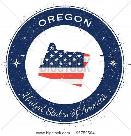 Oregon Circular Patriotic Badge. Grunge Rubber Stamp With Usa State Flag, Map And The Oregon Written