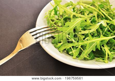 fresh green arugula salad on a ceramic plate dark tablecloth background