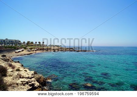View of the Mediterranean Sea Paphos Cyprus