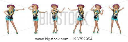 Happy woman wearing sombrero hat on white