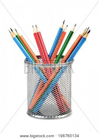Steel basket with colored pencils on white background