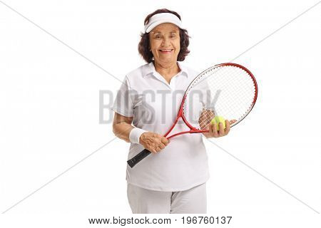 Elderly tennis player with a racket and a ball isolated on white background