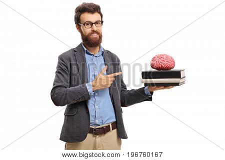 Teacher pointing at a brain model on top of books isolated on white background