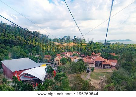 Langkawi, Malaysia - February 16, 2016: View of the Base Station located at the Oriental Village from a gondola. Langkawi SkyCab or Cable Car is one of the major attractions in the island