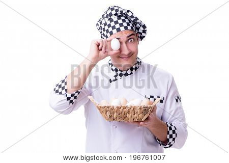 Chef with a basket of eggs
