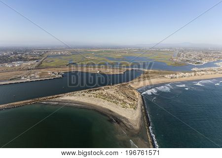 Aerial view of Seal Beach National Wildlife Refuge in Southern California.
