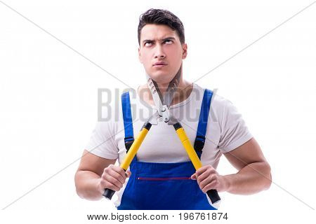 Man gardener with gardening scissors on white background isolate