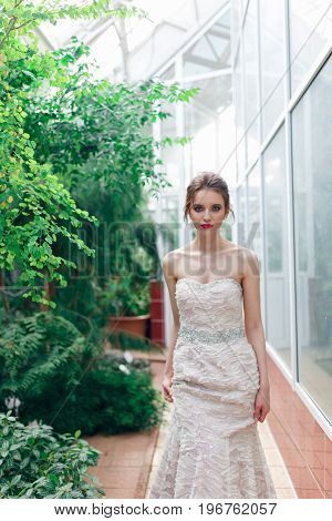 beautiful elegant lady in white dress bride