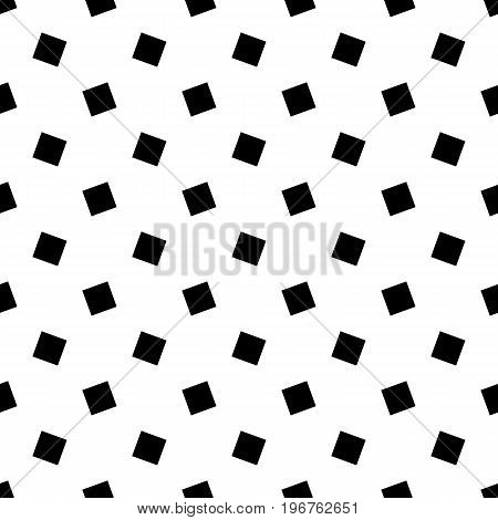 Monochrome abstract seamless geometric square pattern - vector background design from rotated squares
