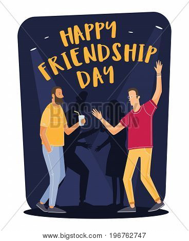 Friendship Day. Young cartoon people dance and enjoy party on day of holiday friends. Vector illustration.