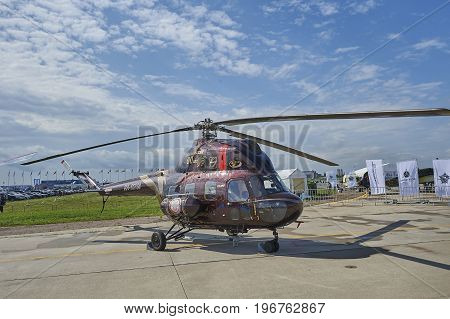ZHUKOVSKY, RUSSIA, JUL. 21, 2017: Aerospace aircraft exhibition MAKS 2017. Old model serial production Russian helicopter Mi-2 for transport and rescue purposes. World famous transport helicopter