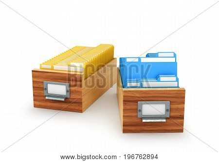 Wooden box with archived files and folders isolated on white background. 3D illustration