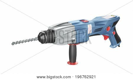Rotary hammer drill machine isolation on a white background. Construction puncher. 3d illustration