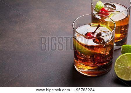 Cuba libre cocktail glasses. With copy space