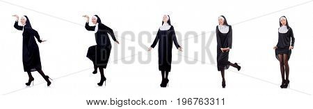 Pretty nun isolated on white