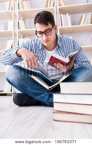 Young student studying with books