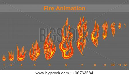 Flat fire sprites for animation frames icons. Vector illustration.