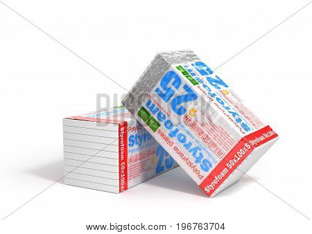 Stack of styrofoam for insulation on a white background. Heating materials. 3d illustration